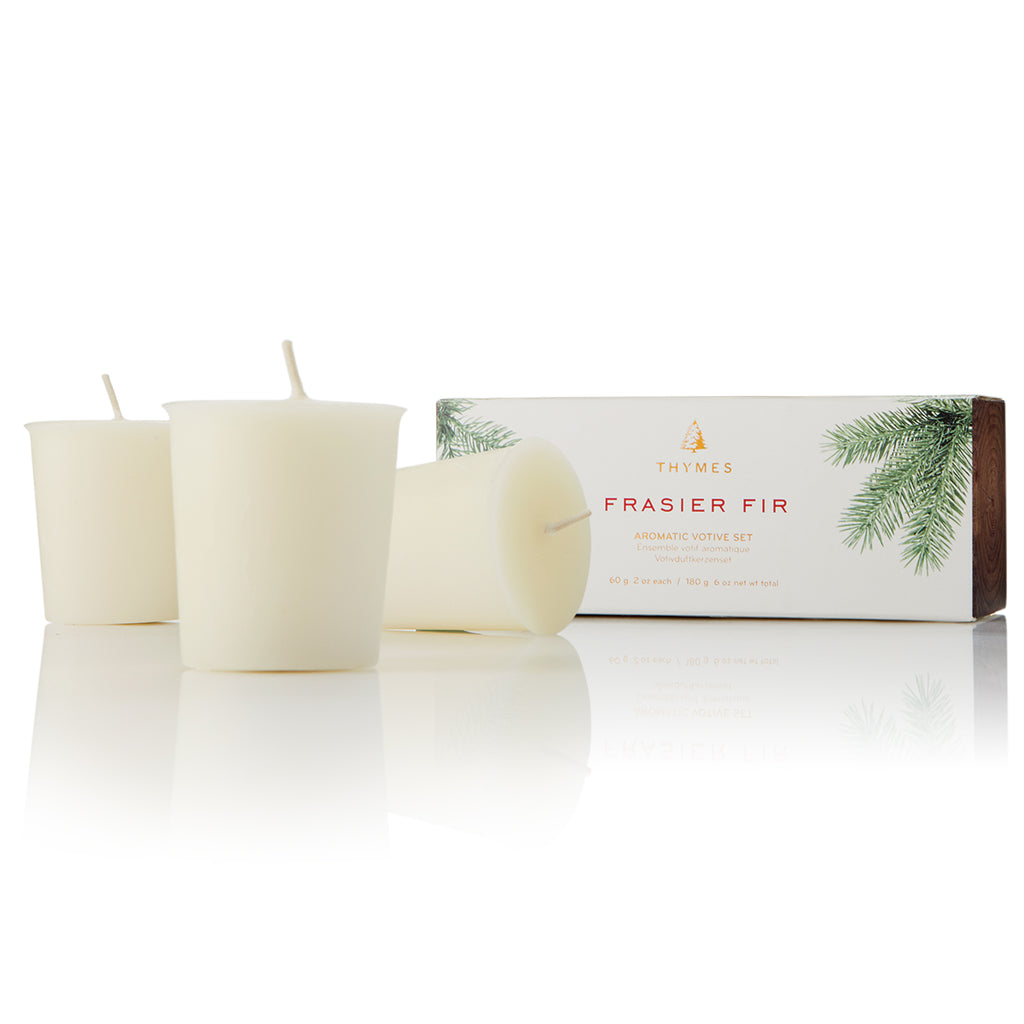 Thymes Frasier Fir Votive Candle Refill, Set of 3
