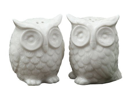 Creative Co-Op Ceramic Owl Salt and Pepper Shaker Set