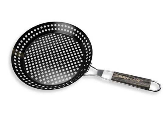 MAN LAW BBQ Non-Stick Skillet Basket, 12-Inch Diameter