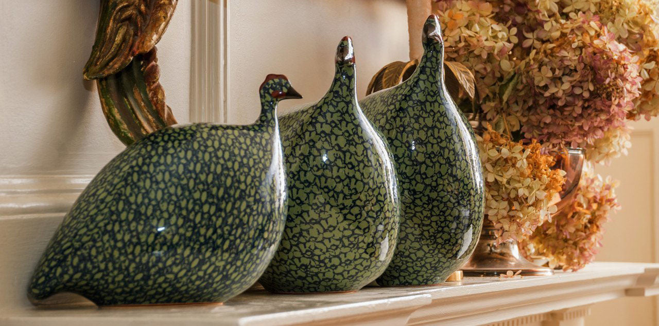 Yankee Trader Gifts - 3 White Green La Pintade Ceramic Guinea Hens Decorating Fireplace