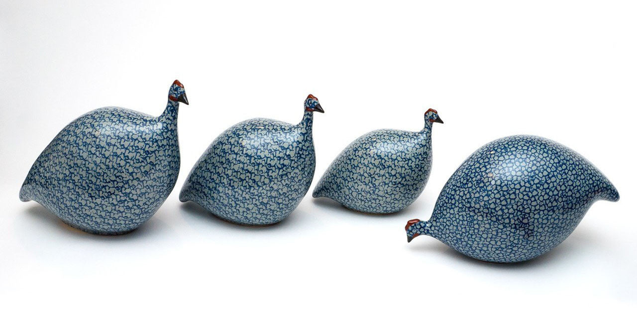 Yankee Trader Gifts -  La Pintade French Guinea Hens - The Blue Cobalt Family 4 sizes Large Medium Small Feeding