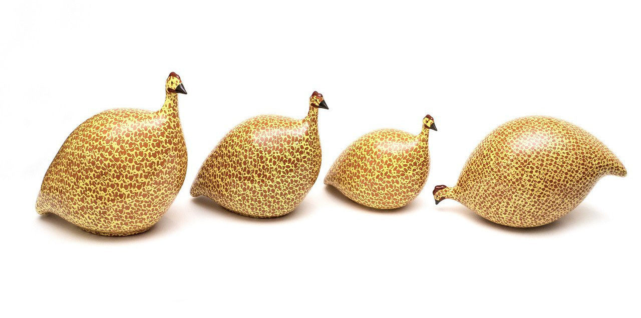 Yankee Trader Gifts - complete family of Red Yellow Ceramic Guinea Hens