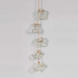 "Hanging Glass Jar Garland On Twine. 24"" L w/ 5- 3"" Jars."