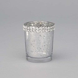 Mercury Glass Votive with Rhinestone Band-Sold in case of 12  ($2.99ea)