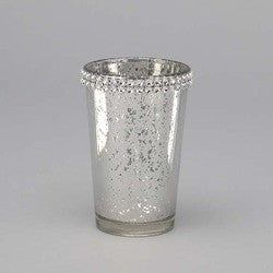 Mercury Glass Votive with Rhinestone Band-sold in case of 12-$48.00($4.00ea)