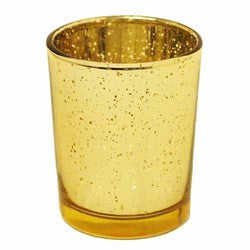 "Aged Glass Votive 2 1/2"" Gold- Sold in case  of 6 $20.99 ($3.50ea)"