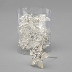 Mesh wire bling flower on a pin. Silver. Sold in pack of 12 $35.99 ($2.99ea)
