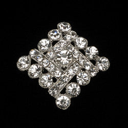 "Square crystal broach. Clear. 1 1/8""H $4.95ea"