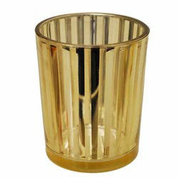 "Striped Glass Party Votive-Gold 2 1/2"" Sold in case of 4 $13.99 ($3.50ea)"