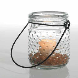 "Glass Hobnail Jar with Metal Hanger. 5.75Hx4""D. Sold in case of 12"