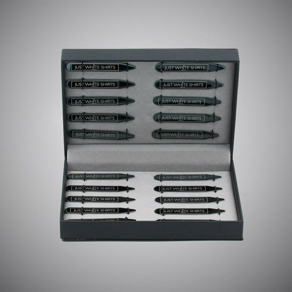 JWS Black Chrome Finish Stainless Steel 20 Piece Collar Stay Box Set