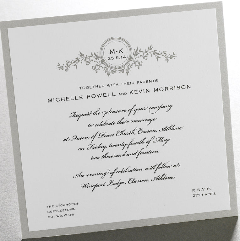 Finer Details Wedding Invitations Ireland Vines Initials