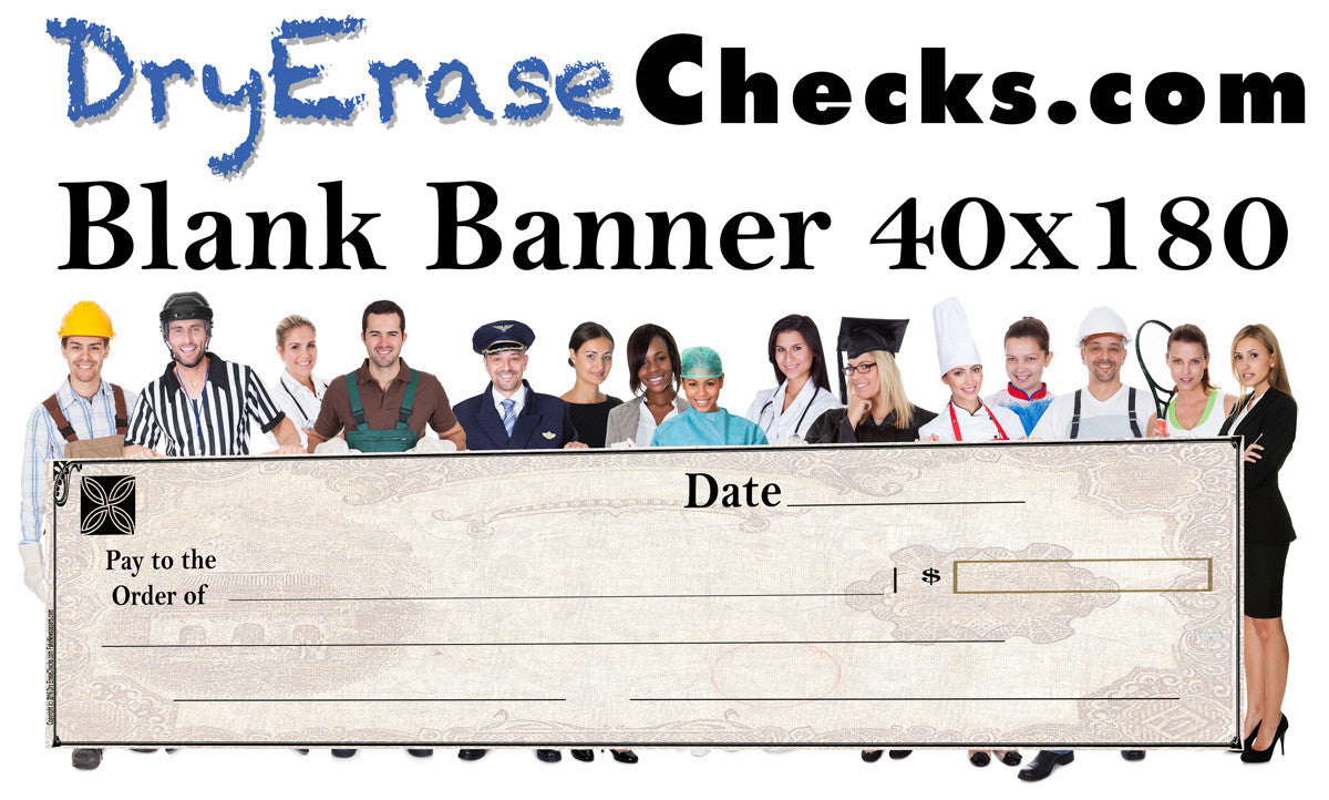 Blank Giant Check 40x180 HUGE BANNER Size Giant Oversized Check ...