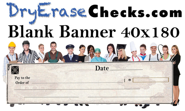 Blank Giant Check 40x180 HUGE BANNER Size Giant Oversized Check