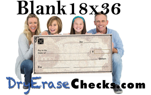 "Blank Giant Check 18"" x 36"" Medium Size Big Check      We will beat ANYONES PRICES!"
