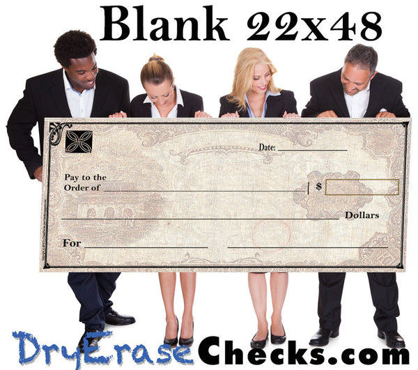 "Blank Giant Check  22"" x 48"" Large Size Big Check"