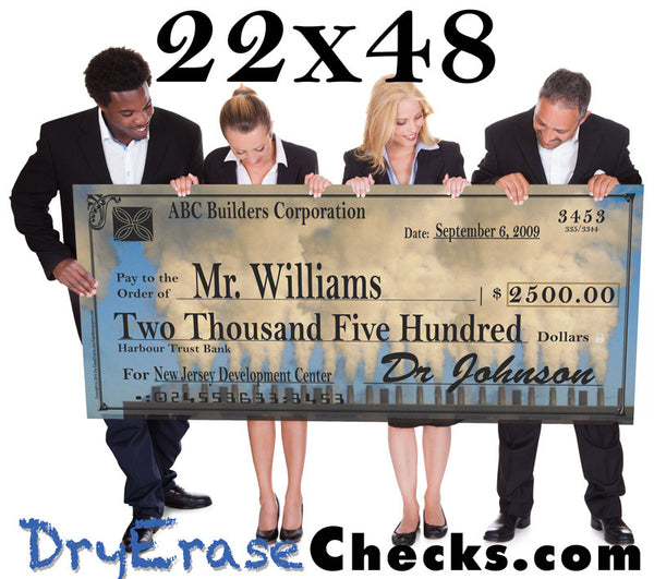 "Giant Check  22"" x 48"" Large Size Big Check - Include your Photo for Free!"