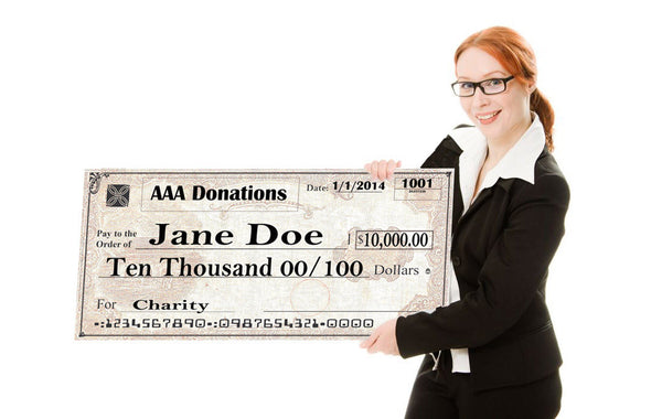 "Giant Check 18"" x 36"" Medium Size Big Check - Include your Photo for Free!"