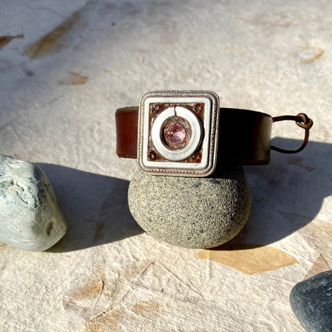 """Vintage Pink Crystal and Steel"" Mosaic and Leather Cuff/Bracelet (109)"