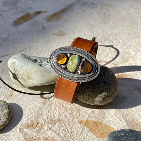 """Tiger Eye and Jade"" Mosaic and Leather Cuff/Bracelet (111)"