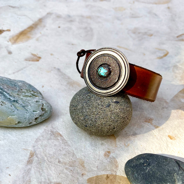 """Rust and Turquoise"" Mosaic and Leather Cuff/Bracelet (112)"