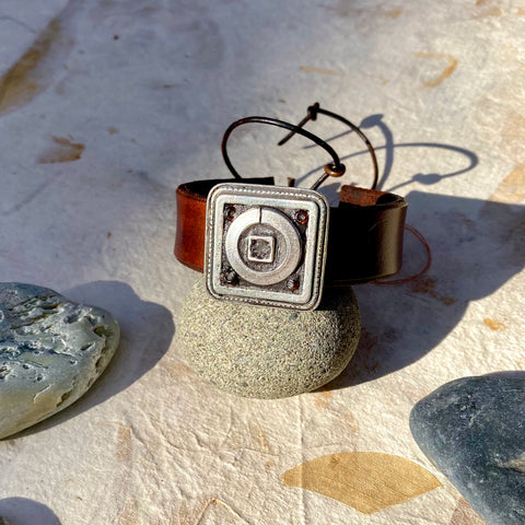"""Stainless Circle, Silver Square"" Mosaic & Leather Cuff/Bracelet (114)"