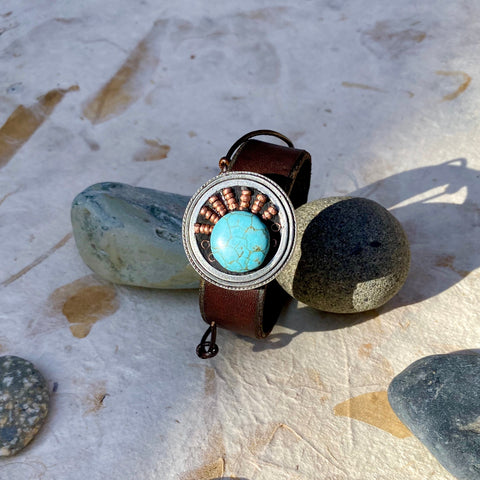 """Turquoise and Copper"" Sunburst Mosaic & Leather Cuff/Bracelet (115)"