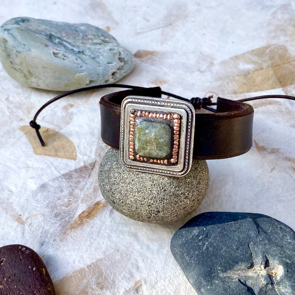 """Labradorite and Copper"" Mosaic and Leather Cuff/Bracelet (116)"