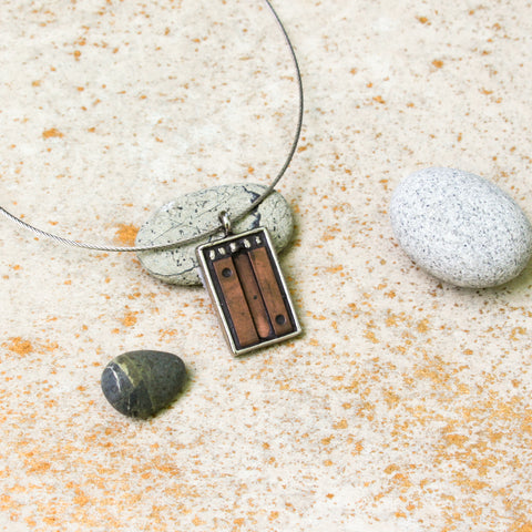 """Copper Block and SIlver"" One-of-a-Kind Mosaic Pendant Necklace (1192)"