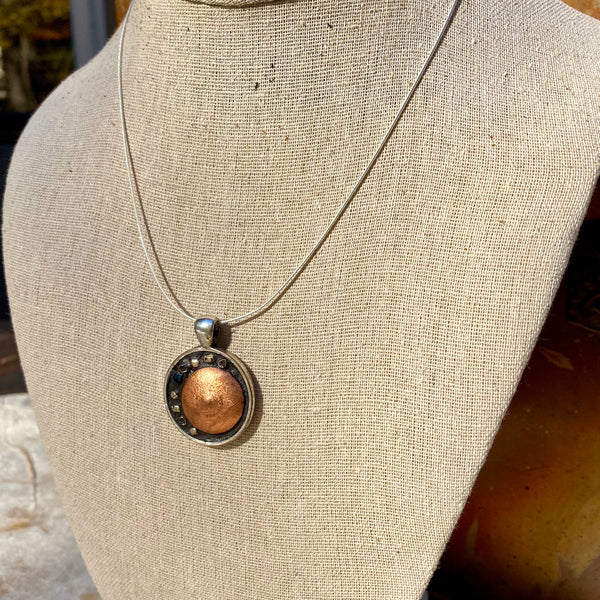 """Copper Sun and Stars"" One-of-a-Kind Mosaic Pendant Necklace (1194)"