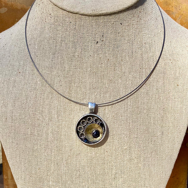 """Brass, Silver, and Crystal Sun"" Mosaic Pendant Necklace (1230)"