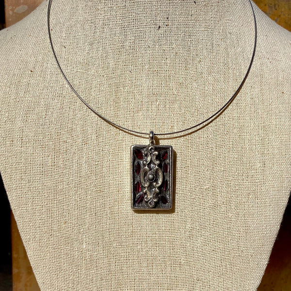 """Vintage Inlay and Garnet"" Mosaic Pendant Necklace (1231)"