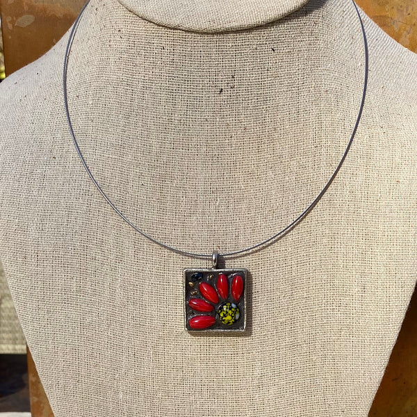 """Vintage Red Coral Flower"" Mosaic Pendant Necklace (1235)"