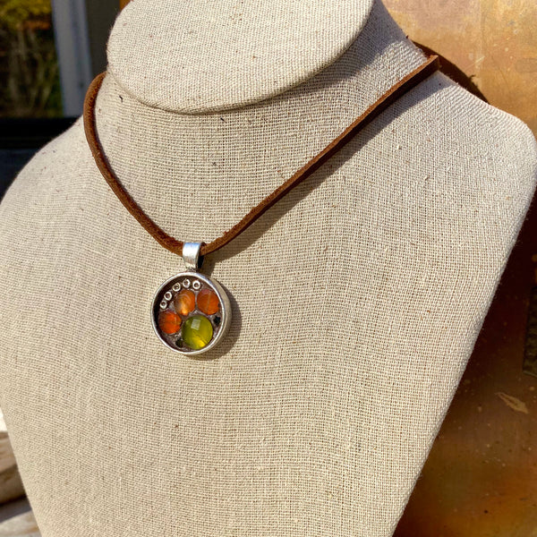 """Carnelian & Vintage Crystal Flower"" One-of-a-Kind Mosaic Pendant Necklace (1249)"