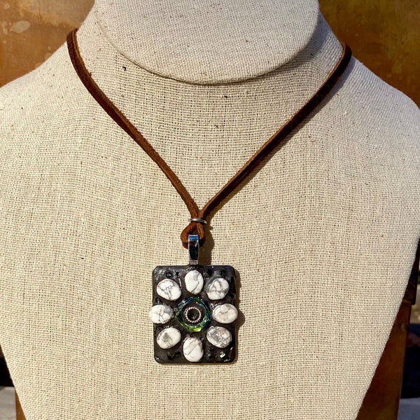 """White Marble and Crystal Flower"" One-of-a-kind Mosaic Pendant Necklace (1256)"