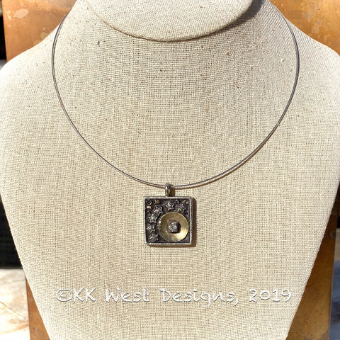 """You are the Moon and Stars-Square"" Mosaic Pendant Necklace (1264)"