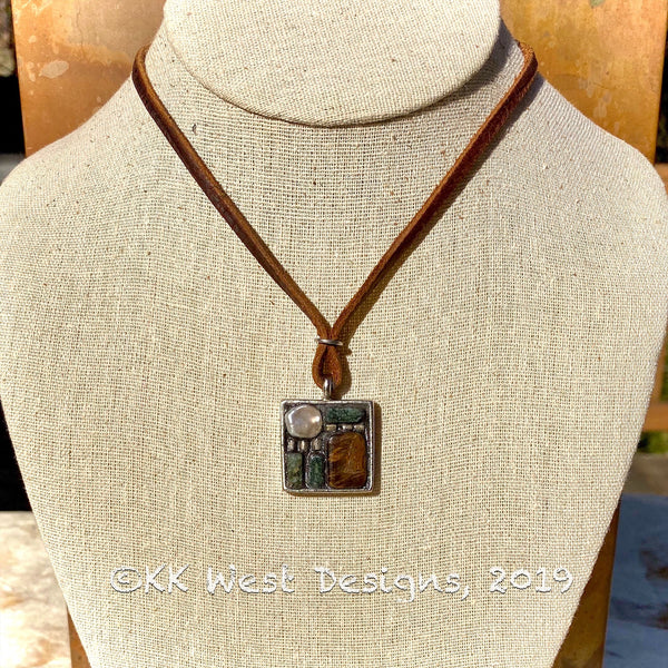 """Tiger Eye, Pearl, and Quartz Mod"" Mosaic Pendant Necklace (1265)"