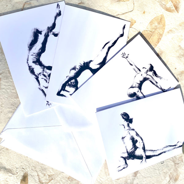 """Yoga Poses"" Greeting Cards-Set of 4"