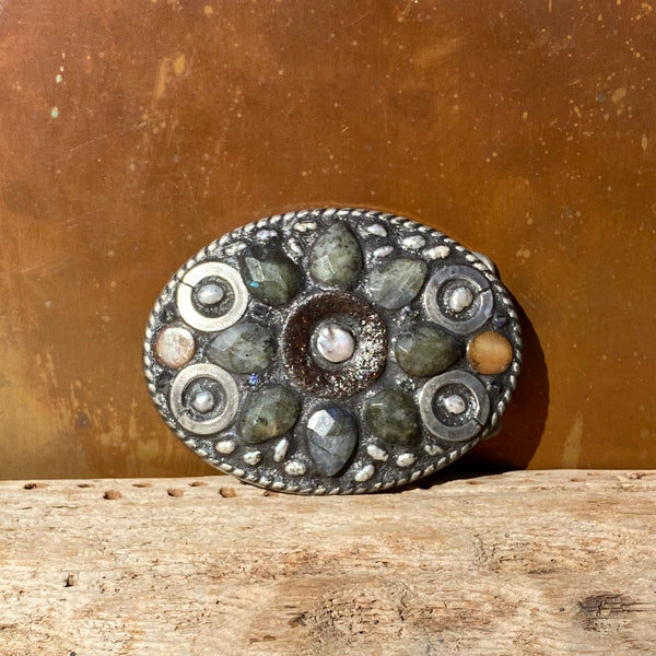 """Labradorite and Pearl Sunflower"" One-of-a-Kind Mosaic Belt Buckle (777)"