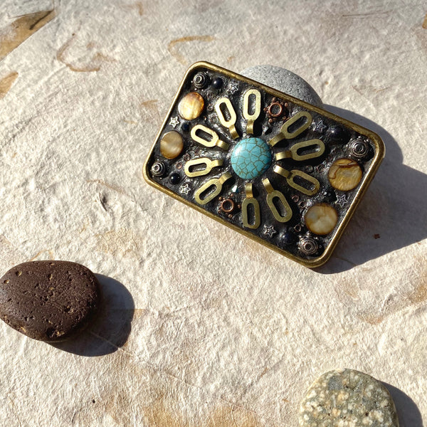 """Brass Chain, Turquoise and Stars"" Rectangular Mosaic Belt Buckle"
