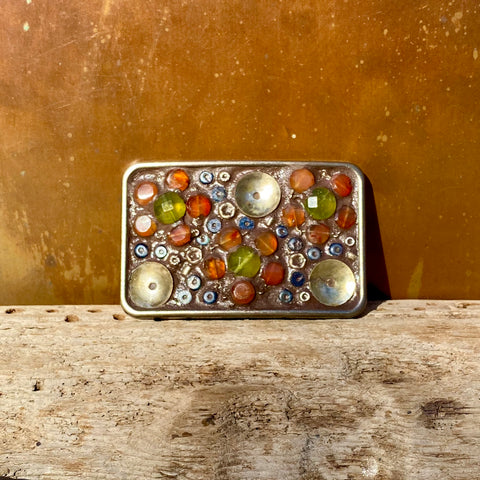 """Orange Carnelian and Vintage Green Flowers"" One-of-a-Kind rectangular Mosaic Belt Buckle (784)"