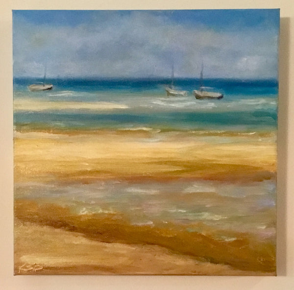 """Crosby Beach"": 12"" x 12"" Original Oil Painting by Katie Sanborn Daker"