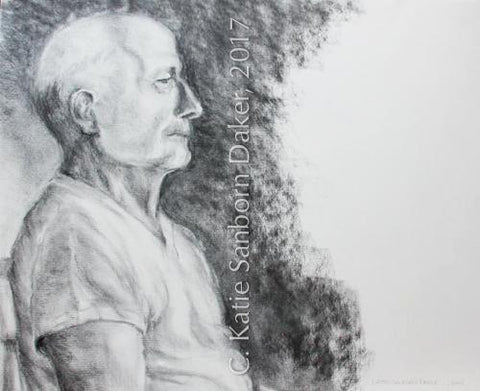 """Ed"" Original Charcoal Drawing by Katie Sanborn Daker"