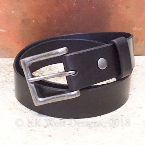 "Unisex 1 1/2"" Handmade Black Leather Belt with Nickel Roller Buckle"