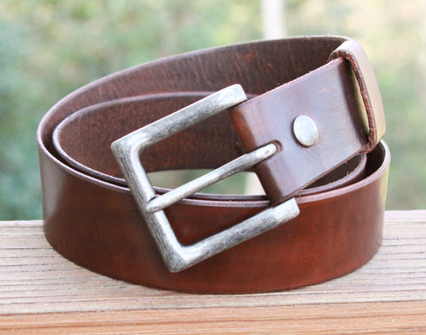 "Unisex 1 1/2"" Handmade Dark Brown Leather Belt with Nickel Roller Buckle"