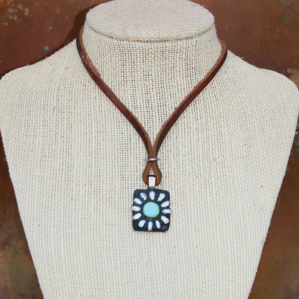 """Pearl & Blue"" Daisy Adjustable Mosaic Pendant Necklace on Leather (1240)"
