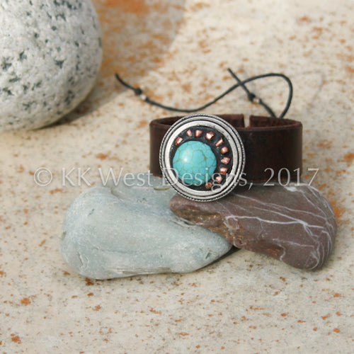 """Turquoise and Copper Sunburst"" Adjustable Mosaic and Leather Cuff (D082)"