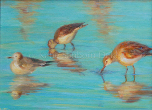 """Three Birds"" Oil Painting by Katie Sanborn Daker"