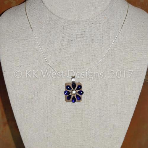 """Vintage Blue Glass and Gold Rhinestone Flower"" Mosaic Pendant Necklace (1181)"