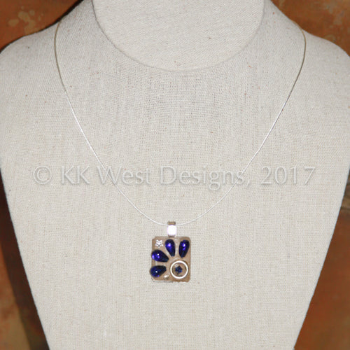 """Vintage Blue, Gold and Crystal"" Mosaic Pendant Necklace (1182)"